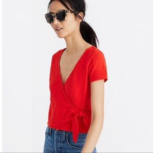 Madewell | Orange Texture & Thread Tie Front Top